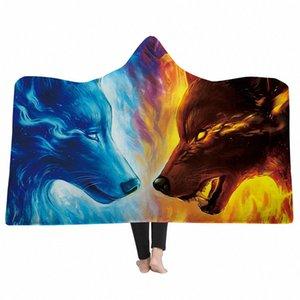 3D Wolf Print Sweat à capuche Couvertures Sweat Sweat à capuche Voyages Camping Camping Couverture Couverture Couverture Coral Fleece X6LZ #