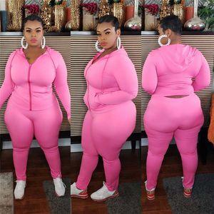 Moda Soild Color Womens Plus Tamaño Trajes Casual Cardigan Slim Dos Pieza Conjunto Capucha Ropa para mujer