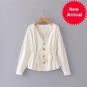 autumn Elegant women's new V-neck single-breasted thin corduroy shirt shirt jacket women Waist long sleeve