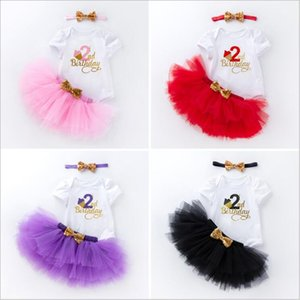2t Clothing for Girls 3pcs 1st Birthday Baby Romper Top Tutu Skirt Dresses and Headband Outfits Sets fit 0-24 Months