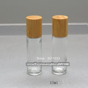 20pcs 15ml 15g Bamboo Lid Cap Glass Roll on Bottle Portable Cosmetic Essential Oil Roller Stainless Steel Ball