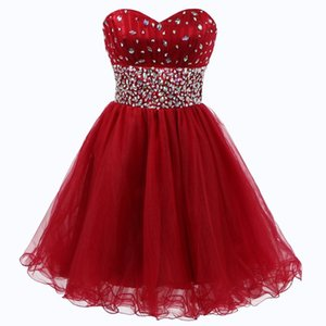 Sexy Sweetheart Sleeveless Homecoming Dresses Beaded A Line Ruffles Tulle Short Cocktail Dress Party Gowns
