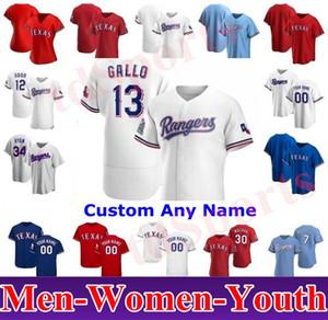 2020 Hombres Mujeres Niños Jóvenes Texas Joey Gallo Auténtico Auténtico Odor Shin-soo Choo Elvis Andrus Ronald Guzman Adrian Alexis Rangers Jerseys