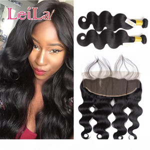 Indian Virgin Hair 2 Bundles With 13 X 4 Lace Frontal 3Pcs set Body wave Human Hair Wefts With Closure From Leila