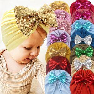 Baby Girls Boys Bowknot Turban Hats Glitter Bling Arques Elástico Diadema Niño Headwrap Gorros Elástico Banda de pelo Accesorios para el cabello G10506