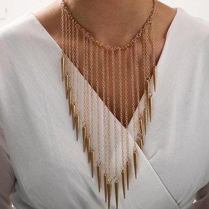 Nuevo collar colgante de remaches de borla dorada Mujeres 2020 europeos collares góticos para niña regalos punk joyería declaración collar mujer1