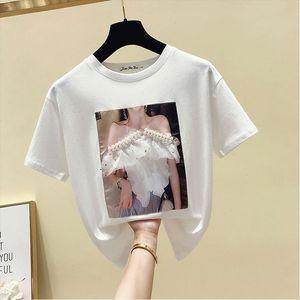 Sexy Beading Summer Tshirts Women Cotton Funny Print O Neck Short Sleeve Tees Women Harajuku Korean Style Tee Woman Tops 2021