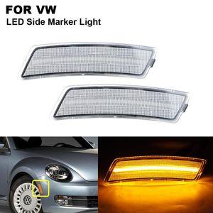 2PCS Amber Clear LED Side Marker High Fender Light For VW For Beetle 2012 2013 2014 2020 2020