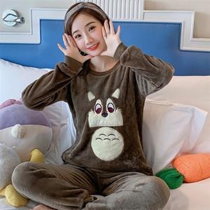 Vendita all'ingrosso Wavmit autunno inverno donne calde flanella pigiama set addensare ragazza stampa pigiama set manica lunga sleepwear vestito donne 201113