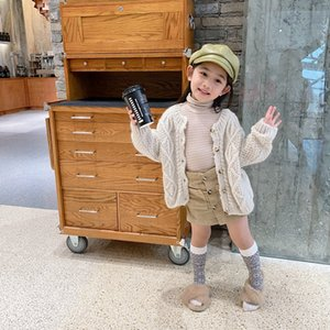 2020 New Autumn Winter Korean Children's Sweater Western Retro Sweater Single Row Long Sleeve Knitted Thickened Cardigan Cute Girl Outerwear