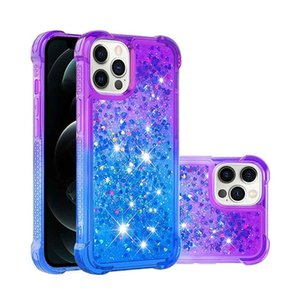 Diamond Four Corner Shockproof Case For iPhone 12 Glitter Bling Floating Liquid Quicksand Silicone Bumper Clear Cover for iphone 11 Pro Max