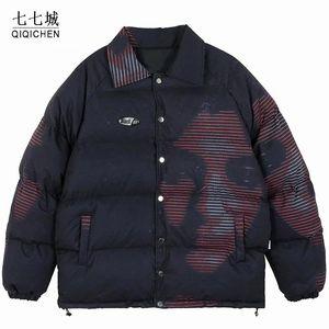 Gli uomini Hip Hop parka ragazza della stampa Streetwear Windbreaker Harajuku 2020 Inverno Giacca imbottita cappotto del cotone palla Warm Outwear