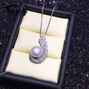 wholesale pearl jewelry natural Pearl pendant necklace for women 925 sterling silver jewelry luxury leaf party jewelry 8-9mm beads