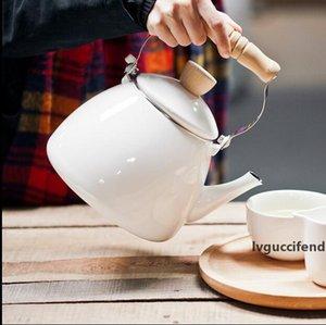 2.2L Wasserkocher Teekanne Emaille Kessel Wasser Teekanne Küchenzubehör Teekanne Trinkgefäße Wasserflaschen weiße Emaille Teekanne Kaffeekanne
