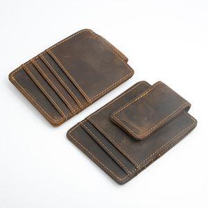 Сумасшедшая лошадь кожаный клип клип магнитные мужчины кошелек горячие продажи винтаж дизайн тонкий кошелек карты