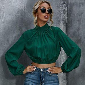Foridol primavera señoras de otoño de raso blusa camisas Ropa de manga larga de cuello alto verde Crop Tops Oficina Tops elegantes 2020