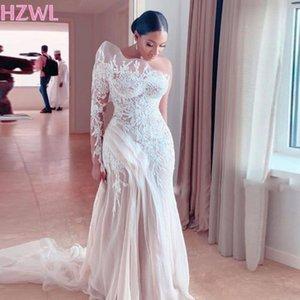 Retro Lace um ombro Mermaid Wedding Vestidos Arábia Saudita Illusion manga comprida Tulle Sweep Trem vestidos de noiva 2021 Primavera