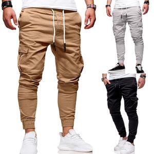 2021 Erkekler Rahat Joggers Katı İnce Sweatpants Erkek Çok Cep Pantolon Yeni Erkek Spor Hip Hop Harem Kalem Pantolon M59E