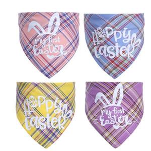 Easter Bunny Haustier Dreieck Schal Single Layer Baumwolle Plaid Speichel Tuch Dünnschal Für Katzen und Hunde DDF4515