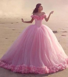 Pretty Off Shoulder Fluffy Neck Pleats A-line Tulle Skirt Court Train 3D Flowers Around Hemline Wholesale Quinceanera Dress Prom Ball Gown