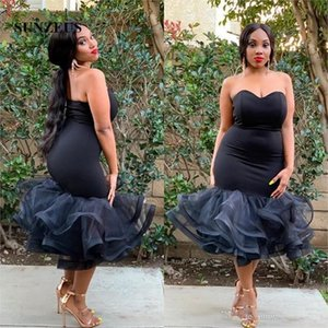 Tea Length Mermaid Prom Dress Puffy Organza Skirt Black Party Gowns For Women Sweetheart Simple Special Occasion Dress African Girls Robe