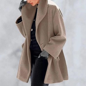 Autumn and Winter Loose Office Coats and Jackets Women Casual Solid Windbreakers Long Sleeve Outerwear Tops Abrigos Para Mujer