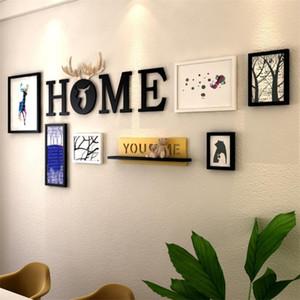 Home Design 6шт Рамы для картин + письма + Shelf украшения стены Photo Frame Set Wood Picture Frame Set Картина Portafoto карниза