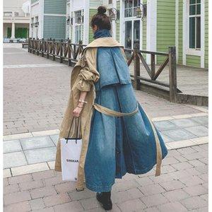 Kadınlar Moda Denim Patchwork Haki Üzeri Diz Palto Çift göğsü Uzun Windbreated için Sharezz 2020 Sonbahar Yeni Trençkot
