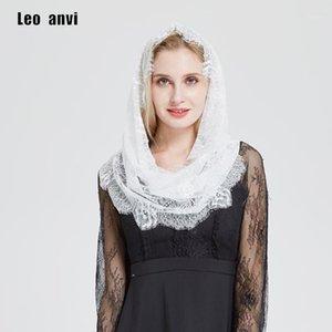 Shawls Leo Anvi White Lace Wrap Ring Scarf Women Mantilla Floral Vintage Inspired Bridal Party Wedding Shawl Headcovering HeadWrap1