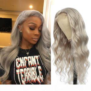 Plata gris ola onda encaje peluca frente brasileño remy pre arrollado pelucas de cabello humano para mujeres negras Soku 150% densidad 13x4 peluca de encaje