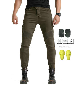 Motorcycle riding jeans not Kominie B06 Trousers have 4Pads Four seasons pants 06 black green with belt protective gear