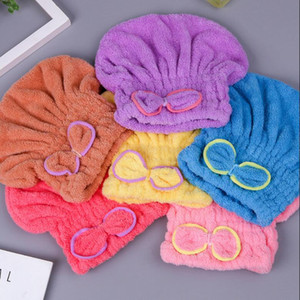 Coral Fleece Bath Hat Cute Bowknot Dry Hair Cap Thickening Wiping Hair Water Uptake Fast Drying Hat Make Up Towel Dhl Free Lxl820
