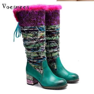 Voesnees Femmes Chaussures 2020 Automne et Hiver Mode Tricot Woollen bottes de longues femmes Brochage Floral Warmth Soft Knee Bottes