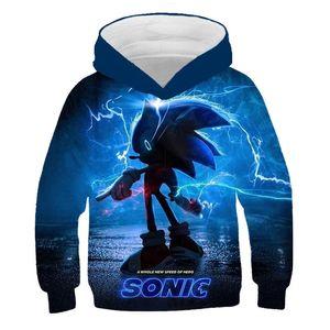 3D Sonic The Hedgehog Baby Hoodies Kids Dibujos animados Niños Super Sonic Boys Ropa Sudadera Harajuku Streetwear Tops Y200901