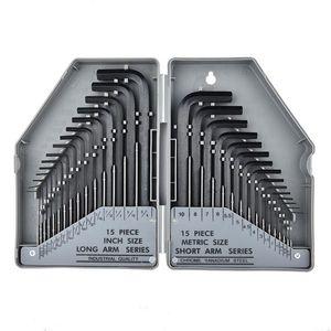 "Jewii 30Pcs Hex Key Allen Wrench 0.028""- 3 8"" Inch & 0.7mm-10mm Metric Size Chromium-vanadium Steel Spanner Long Arm Tool Set"