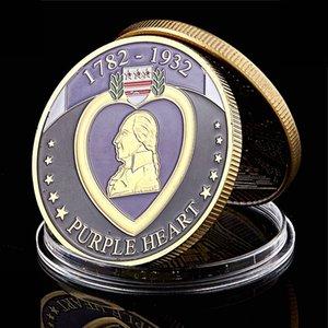 الولايات المتحدة الأمريكية 1782-1932 القلب الأرجواني مكافأة العليا الجندي العسكرية ميدالية مطلية بالذهب تحدي عملة الفن النادرة لوط
