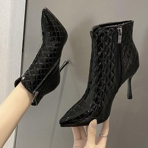 New Autumn Winter Soft Leather Women Ankle Boots Sexy High Heels Riding Boots Dress Party Shoes Woman Buckle Drop Shipping