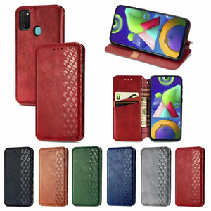 3D Square Cube Leather Wallet Case For Samsung Galaxy Note 20 Ultra S20 FE S20FE M51 M31s M01 Suck Magnetic Closure Holder Stand Flip Cover