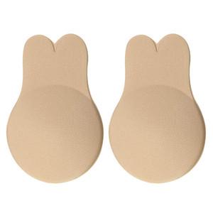 Oíjes de conejo parche de pecho anti fugas Sujetador pegajoso Push Up Levantamiento Nipple Cubiertas Adhesivo Sin tirantes Invisible Invisible Brashless Bras Fundamento Reutilizable para las mujeres
