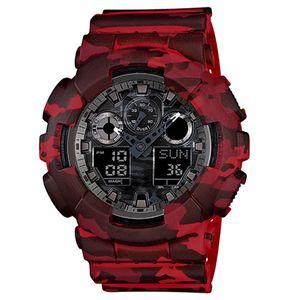 NOUVEAU Numérique LED de quartz de quartz de quartz de montre de quartz en caoutchouc militaire multifonctions de quartz de quartz Watch Water-bracelet de poignet imperméable boîte automatique lumière