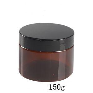 30pcs / çok 150 g amber renkli büyük plastik kutular Kahverengi kap toptan 5oz boş şeker tuz bodur ambalajlar kavanoz 150ml