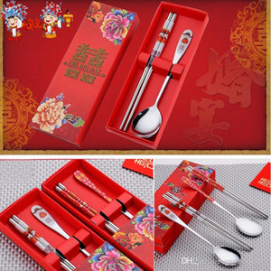Stainless Steel Dinnerware Double Happiness Red Color Spoons Chopstick Sets Wedding Party Gifts For Guest Party Favor 2 styles