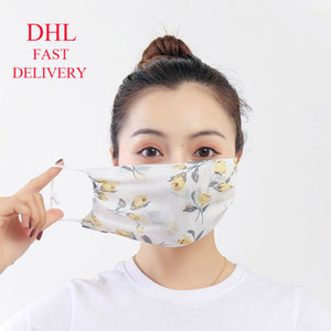DHL Summer Party Cloth Face Mask Washable Reusable Breathable Chiffon Sunscreen Spittle Dust Protective