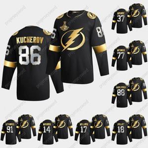Tampa Bay Lightning Nikita Kucherov 2020 Stanley Cup Campeões Preto Ouro Jersey Patrick Maroon Brayden Point Victor Hedman Steven Stamkos