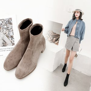INS women ankle plus size 22-28cm suede stitching women's warm winter versatile solid color booties snow boots 201021