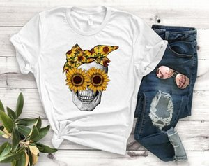 Tournesol Crâne Bandana femmes Imprimer T-shirt Coton Casual T-shirt drôle cadeau pour Lady Yong Girl Top Tee-shirts en ligne PM 110 T-shirt De SRLG #