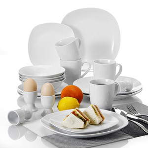 MALACASA Elisa 20-Piece Porcelain Dinnerware Set with Dinner Plates Soup Bowl Dessert Plate Cups Egg Stand Cup Service for 4 C0121