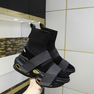 Sapatos de Alta Qualidade Sapatos Primavera e Outono New Elastic High Top Mens e Womens Moda Espessa Soluções Soluções Botas Original Pacote 34-45