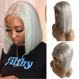 Grey Human Hair Wigs Straight Bob Wigs Lace Front Human Hair 13x1x4 Swiss Lace Pre Plucked Natural Hairline Brazilian Virgin Hair For Women