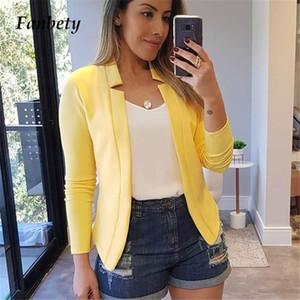 Fanbety Ofis Lady Blazer Ceket Kadınlar Şık Moda Suit Dış Giyim Ceketler Kadın Sonbahar açık Hırka Coat Blazers büyük beden